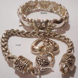 Set of 2 Silver Plated Bracelets HEARTS & SCROLLS